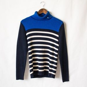 Ralph Lauren Ribbed Stripped Turtle Neck Sweater